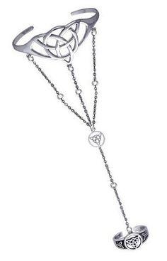 Charmed Triquetra Knot Silver Slave Bracelet