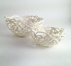 2 Porcelain Paperclay Filigree Nested  Bowls in white - Porcelain paperclay. €37.00, via Etsy.