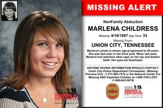 MARLENA CHILDRESS, Age Now: 33, Missing: 04/16/1987. Missing From UNION CITY, TN. ANYONE HAVING INFORMATION SHOULD CONTACT: Union City Police Department (Tennessee) - Missing Persons Unit - 1-731-885-1515.