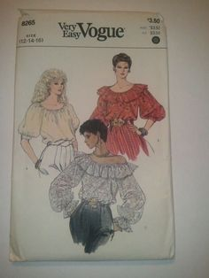 Vogue 8265 Sewing Pattern Misses Blouse Size 12 14 16 Very Easy Uncut 3 Styles  #VoguePatterns #Retro1982