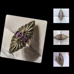 """Antique Marcasite & Emerald Cut Amethyst Ring Amazing Vintage Marquee Shaped ring with Emerald cut amethyst & marcasitesit has a hallmark marking of a dog and is also marked Sterling"""" Very unique and one of a kindSize 6.5This won't last long, grab it while you can Vintage Jewelry Rings"""