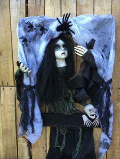 Halloween Decorations, Halloween Wreaths, Halloween Door Wreaths, Creepy Doll Halloween Decorations, Scary…