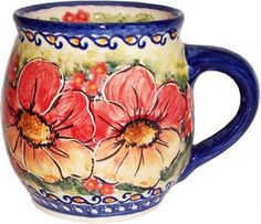 Polish pottery - love this old-fashioned design with big flowers!