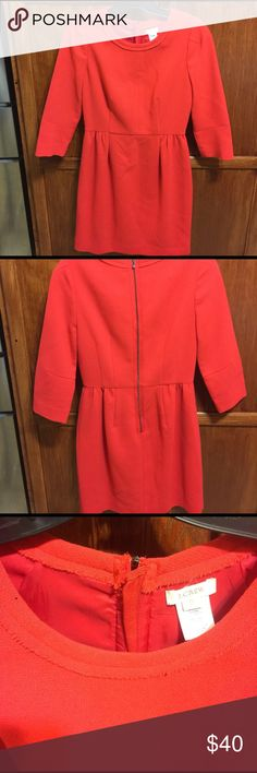 J. Crew coral wool dress Beautiful J. Crew dress with unfinished hem on the neckline. And exposed back zipper. Dress is in excellent condition. J. Crew Dresses Mini