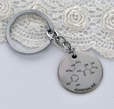 ADRENALINE Molecule Key Chain Chemistry of by BLINGYourNameHere, $15.00 stainless steel gift for men gift for guys science jewelry keychain nerd geek geekery
