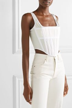 Ivory cotton-jersey, white canvas Zip fastening through back cotton Dry clean White Corset Top, Corset Outfit, Bustier Top Outfits, Corset Dresses, Dion Lee, Fashion Outfits, Womens Fashion, Fashion Goth, Girly Outfits