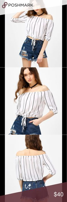 STRIPED OFF THE SHOULDER BLOUSE Product Details Occasion:Casual  Style:Casual Material:Polyester Shirt Length:Short Sleeve Length:Three Quarter Collar:Off The Shoulder Pattern Type:Striped Embellishment:Lace Season:Spring,Summer Weight:0.1500kg Package Contents:1 x Blouse                       Any questions feel free to let me know! Tops Blouses
