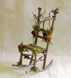 Fairy Garden Miniature Dollhouse TWIG Furniture ROCKING CHAIR B Crafted HandMade