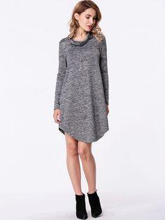 Turtleneck Heather Grey Curved Hem Shift Dress
