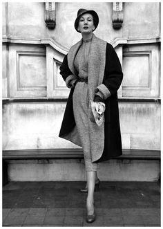 barbara goalen | Barbara Goalen in dress and coat by Digby Morton, 1950