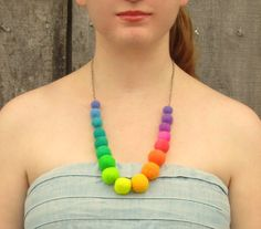 Necklace. Rainbow Necklace. Felted Necklace. Wet by HandiCraftKate, $55.00