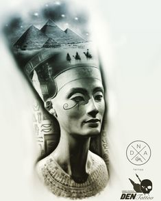 Egyptian Queen Tattoos, Egyptian Tattoo Sleeve, Egyptian Symbols, Egyptian Art, Tattoo Sketches, Tattoo Drawings, Nefertiti Tattoo, Girl Face Tattoo, Egypt Culture