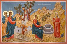 Jesus with Zacchaeus the tax collector (in the fig tree) and the Samaritan woman (by the well) Religious Images, Religious Icons, Zacchaeus, Life Of Christ, Byzantine Icons, Living Water, Orthodox Icons, Sacred Art, Painting & Drawing
