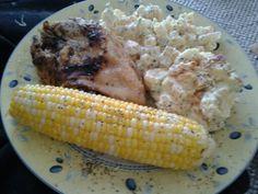 Roasted chicken w/potato salad, macaroni salad & corn on the cob
