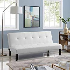 white sofa Simple and elegant. Naomi Home Button Tufted Futon Sofa Bed is a classic piece that . Living Room Sets Furniture, Sofa Bed, Dorm Couch, Futon Bedroom, Futon Sofa Bed, Simple Sofa, Couch Alternatives, White Bedding, Tiny Living Rooms