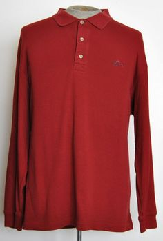 Greg Norman Mens Size 2XL Solid Red 100% Cotton Long Sleeve Golf Polo Shirt #GregNorman #PoloRugby