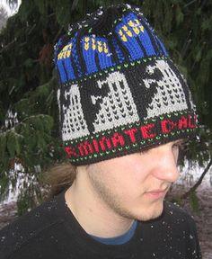 Ravelry: Exterminate pattern by Lorraine Condotta Geek Crafts, Crafts To Make, Doctor Who Knitting, Dwarf Hat, Red Dwarf, Knitting Patterns, Crochet Patterns, Knit Crochet, Crochet Hats
