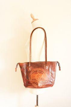 Vintage tooled leather elephant motif bag by TurquoiseFlamingo on Etsy