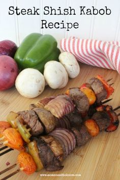 These steak shish kabobs are packed with flavor, thanks to a delicious marinade. Make sure to add this recipe to your grilling rotation! Kabob Recipes, Steak Recipes, Grilling Recipes, Cooking Recipes, Yummy Recipes, Grilling Ideas, Cooking Rice, Healthy Grilling, Beef Recipes