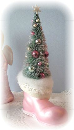 SANTA Boot Pink Shabby Sweet Bottle Brush Tree  SHABBY WHERE HAVE YOU BEEN NEVER HEARD OF THIS UNTIL PINTEREST WHO KNEW