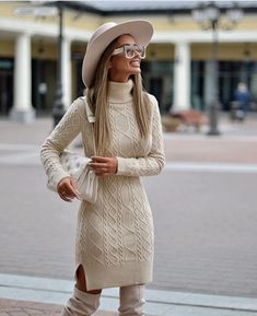 image of Margarita Celsova ( wearing sweater dress by to be blossom - The Best Fall Outfit Ideas And Street Style Winter Fashion Outfits, Fall Winter Outfits, Winter Dresses, Autumn Winter Fashion, Dress Fashion, Mode Chic, Mode Style, Classy Outfits, Chic Outfits