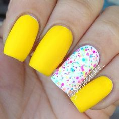 Fun Summer Nail Art Design. Summer is associated with all the funky colors. Get the bright yellow color mixed with white and other summer colors, just like the one in the picture.