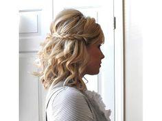 Peinado novia media cola trenza cabello corto / peinado de novia