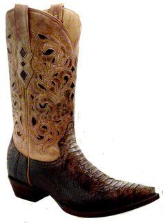 97bd78d83 Mens Brown Beige Python Laser Top A1806 Mens Shoes Boots