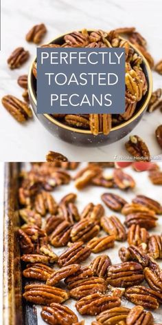 Perfectly Toasted Pecans - Buttery Salted Nuts Perfectly Toasted Pecans are easy to make and are great for snacking, mixing in your cakes and pies, or topping your ice cream! Spicy Pecans Recipe, Spiced Pecans, Candied Pecans For Salad, Glazed Pecans, Candied Nuts, Paleo Nuts, Appetizer Recipes, Snack Recipes, Appetizers