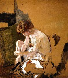 Model Removing her Stockings-c.1903 by Edouard Vuillard