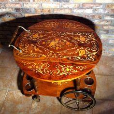 Fine Vintage Italian Hollywood Regency Inlaid Tea Wine Burled Wood Serving Cart   eBay