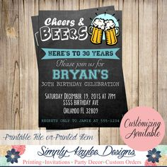 Cheers and Beers Birthday Invitation  30th by SimplyKayleeDesigns