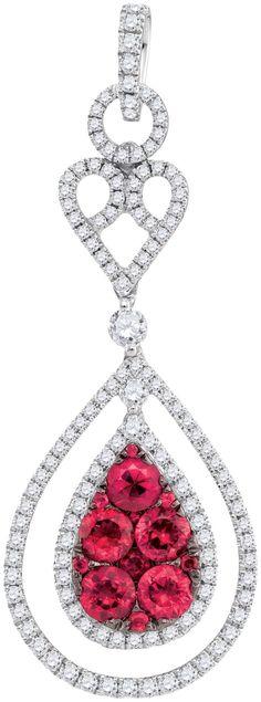 3/4CTW-Diamond 1 3/8CT-RUBY PENDANT
