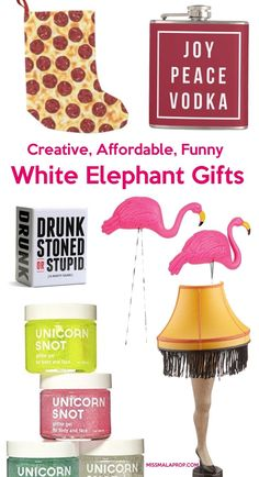ROFLMAO! Don't give the same gifts as everyone else! Be the hit of your holiday party when they open these creative, affordable and funny white elephant gifts & Dirty Santa gifts!