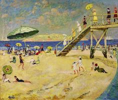 """''Bathing Beach, Gloucester'', Richard Hayley Lever, oil on canvas, 25 x 30"""", private collection."""