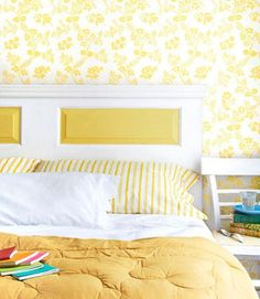 Old door on its side becomes a new headboard