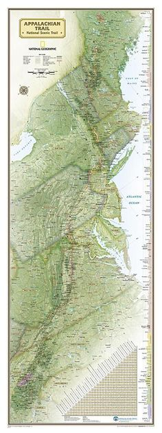 Appalachian Trail Wall Map, Boxed by National Geographic Maps Appalachian Trail Map, Appalachian Mountains, Trail Maps, Thru Hiking, Hiking Tips, Backpacking Tips, Hiking Gear, Maps History, Mileage Chart