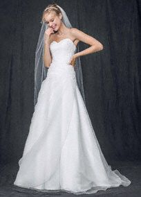 Strapless A Line Organza Gown with Ruched Bodice