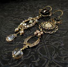 Passionada (Champagne / Honey / Cream Version) - Asymmetrical Earrings - Boho Bride - Beach Wedding - Art Jewelry
