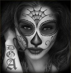 See related links to what you are looking for. Chicano Tattoos, Body Art Tattoos, Girl Tattoos, Tattoos For Women, Day Of The Dead Girl, Day Of The Dead Skull, Skull Girl Tattoo, Sugar Skull Tattoos, Sugar Skull Girl