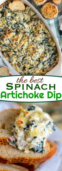 Spinach Artichoke Dipis impossible to resist and ready to go in just about 30 minutes. Fresh from the oven, it's creamy, cheesy goodness is best served with chips, toasted baguette slices or celery sticks.It's an easy and delicious dip that is perfect for gatherings, BBQs or game day. // Mom On Timeout #recipe #appetizer #artichoke #spinach #cheese #dip #gameday #easy #baked