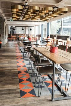 Bonfire Restaurant @ The Barbican Centre, London. Designed by Catering Design Group Micoley's picks for #Flooring www.Micoley.com #ChairRestaurant