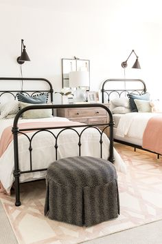 Girls Farmhouse Bedroom, black wire frames, white bedding, grey ottoman, shared girls room is part of Farmhouse bedroom - Home Bedroom, Bedroom Furniture, Bedroom Decor, Modern Bedroom, Bedroom Lighting, Contemporary Bedroom, Master Bedroom, Trendy Bedroom, Modern Girls Bedrooms