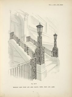 Wrought iron stoop and area railing, newel posts and lamps. [Plate 404-N]. - ID: 486858 - NYPL Digital Gallery