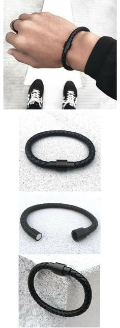 mens black leather bracelet with magnetic connector. On sale with free shipping click for more details.