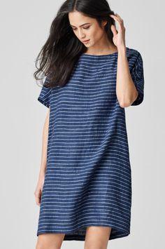 Organic Linen Delave Pinstripe Boxy Dress.