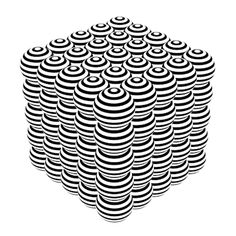 sphere cube // black and white // stripe // op art // optical illusion