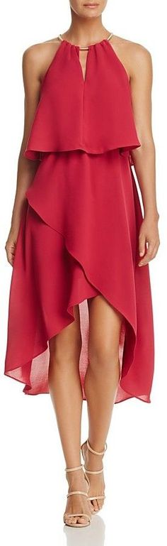 Adrianna Papell Necklace-Halter Ruffled High/Low Dress