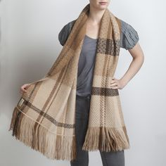 Hand Woven Light Fawn & Brown Alpaca Scarf. Hand woven with 3 complex 24 shaft weave structures Araminta combined different tones of the fawn fleece.