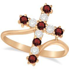 Allurez Diamond & Garnet Religious Cross Twisted Ring 14k Rose Gold... (24.981.550 VND) ❤ liked on Polyvore featuring jewelry, rings, rose gold diamond ring, diamond cross ring, garnet ring, thin diamond ring and cocktail rings